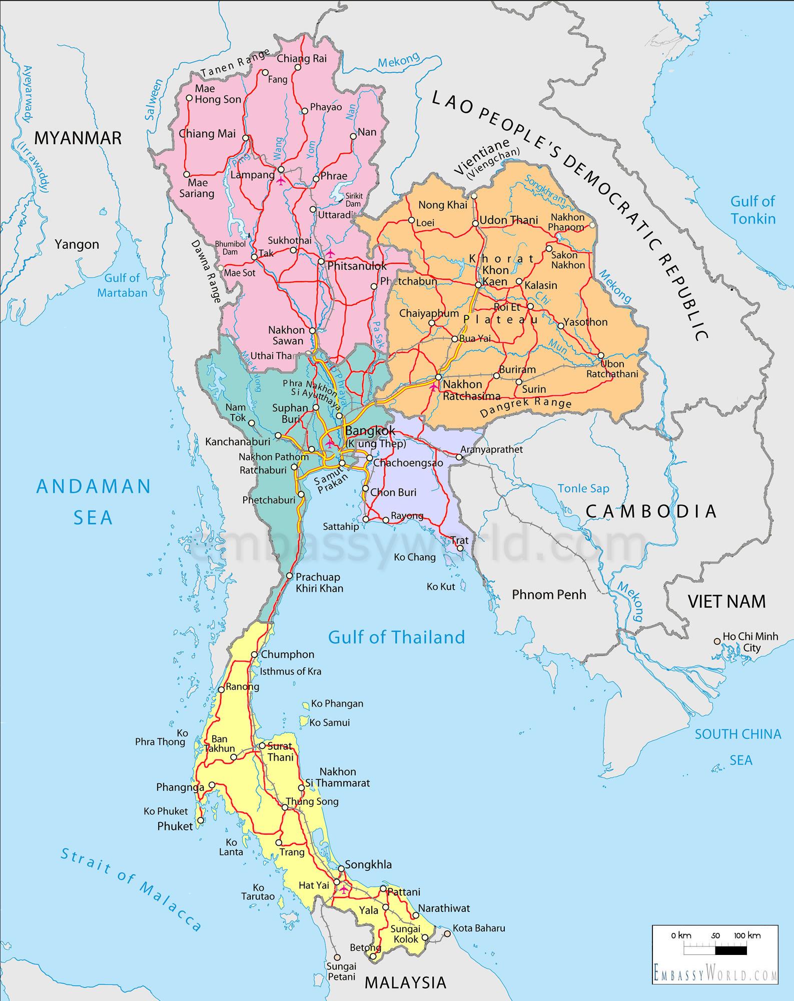 karta kambodja thailand KARTA . Thailand . Laos . Kambodja . Indokina . Sydostasien  karta kambodja thailand