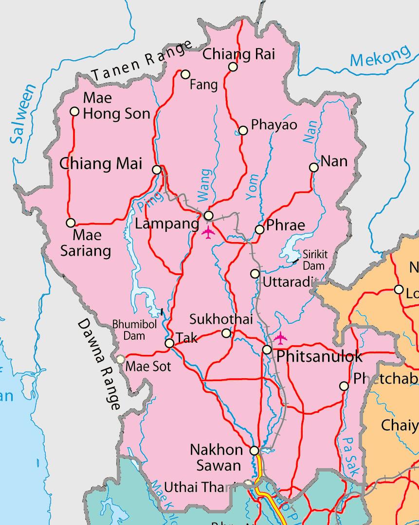 Norra Thailand Karta Karta 2020